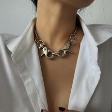 Punk metal hollow necklace female exaggerated geometric keychain pendant necklace boako retro exaggerated link chain punk metal item necklace female simple hand chain geometric personality necklace shackles b3