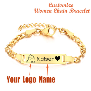 Women Custom Chain Bracelets DIY Personalized Stainless Steel Name Logo Bar Chain Bangle Gift for Mom Girlfriend