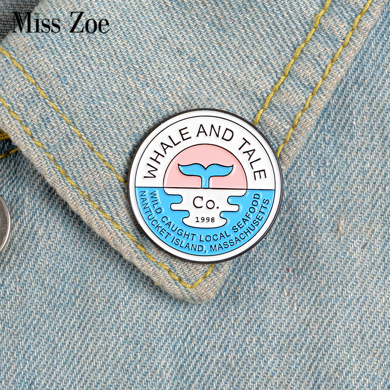 <font><b>Whale</b></font> and Tale Enamel Pins Custom Animal Brooches Lapel Pin Shirt Bag Badge Cartoon Nature Ocean Sea Jewelry Gift for Friends image