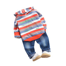 2019 Autumn Children Clothes suit Baby Boys Girls Striped Hooded T shirt  Pants 2Pcs/Sets Kids Cotton Clothing Infant Tracksuits недорого