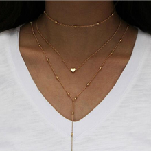 Fashion Jewelry Gold Color Heart Pendant Necklaces Long Tassel Excellent Women Multiple Layers Chain High Quality