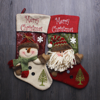 Christmas decorations for home Christmas stocking 3d snowman socks red Santa Christmas gift bags 26*43cm 2pcs/lot big size beige