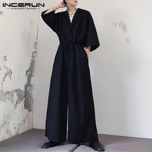 INCERUN Men Jumpsuit Fashion Solid Casual Punk V Neck Half Sleeve Overalls Men Wide Leg Pants Streetwear Baggy Romper S-5XL 2020(China)