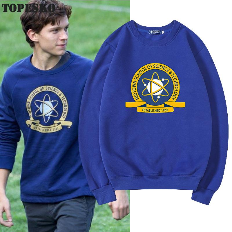 TOPESKO Spiderman Tom Holland Men Women Hoodies Science Technology School Print Streetwear Homme Unisex Sweatshirt