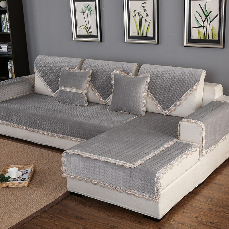 Thick Slip Resistant Couch Cover for Corner Sofa Made with Plush Fabric Including Lace for Living Room Decor 4