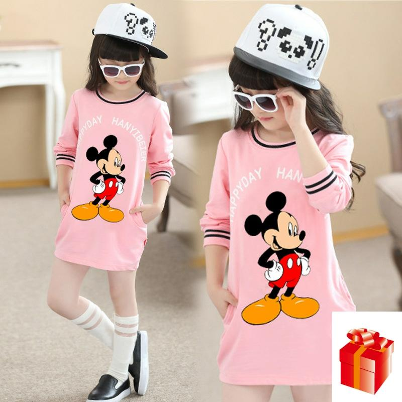 Baby <font><b>Girls</b></font> Clothing Princess <font><b>Dress</b></font> Kids Clothes Mickey <font><b>Long</b></font> <font><b>Sleeve</b></font> Birthday <font><b>Dresses</b></font> <font><b>Christmas</b></font> Costume Pink and <font><b>Red</b></font> <font><b>Dress</b></font> 5-12Y image