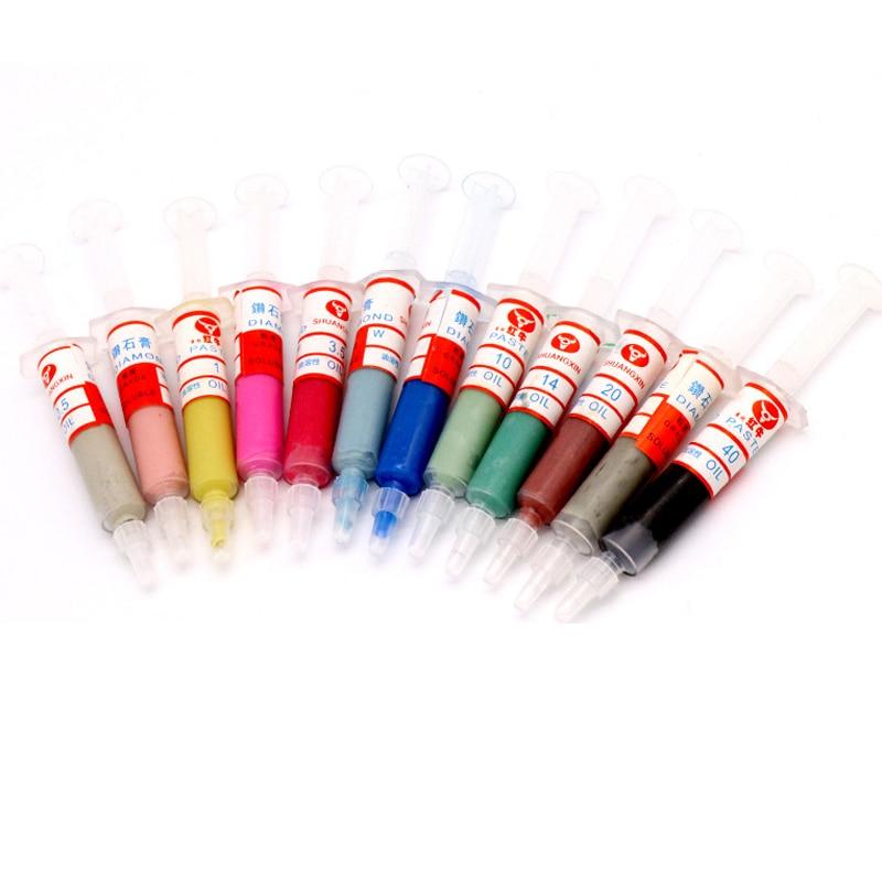 12Pcs Diamond Polishing Lapping Paste Compound Syringes 0.5-40 Micrometer 5 GramGrinding Polishing Paste Lapping Compound
