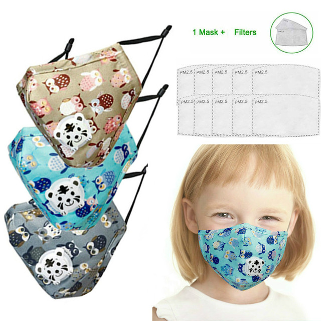 PM2.5 Face Mask Kids  Mask Cute Breathable Valve Mouth Mask Filter Pad Pollution Activated Carbon Filter Summer Cotton Masks 4