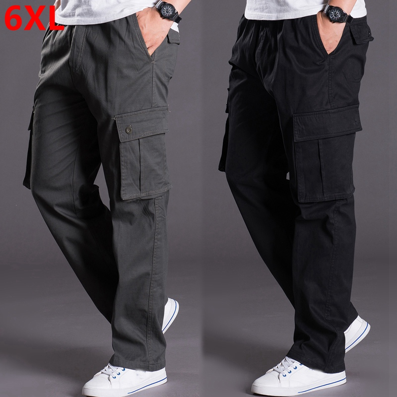 Autumn And Winter Big Size Thick XL Male Pants Overalls Loose Pants Pocket Plus Size Men Casual Pants Men 6XL 5XL 4XL 3XL 2XL