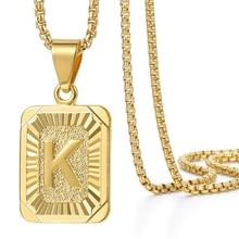 Initialen Anhänger Brief Name Halskette Für Frauen Männer Gold Silber Farbe Platz Alphabet Charme Box Link Kette Paar Schmuck GPM05