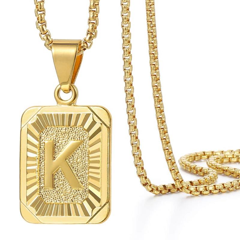 Initials Pendant Letter Name Necklace For Women Men Gold Silver Color Square Alphabet Charm Box Link Chain Couple Pendants GPM05