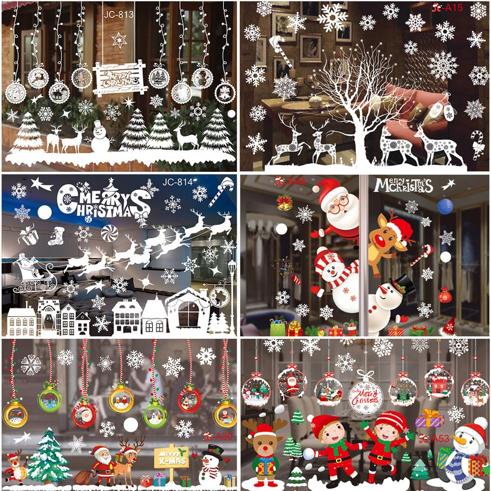 Christmas Window Sticker Merry Christmas Decorations For Home 2021 Cristmas Ornament Xmas Navidad Natal Gifts New Year 2022
