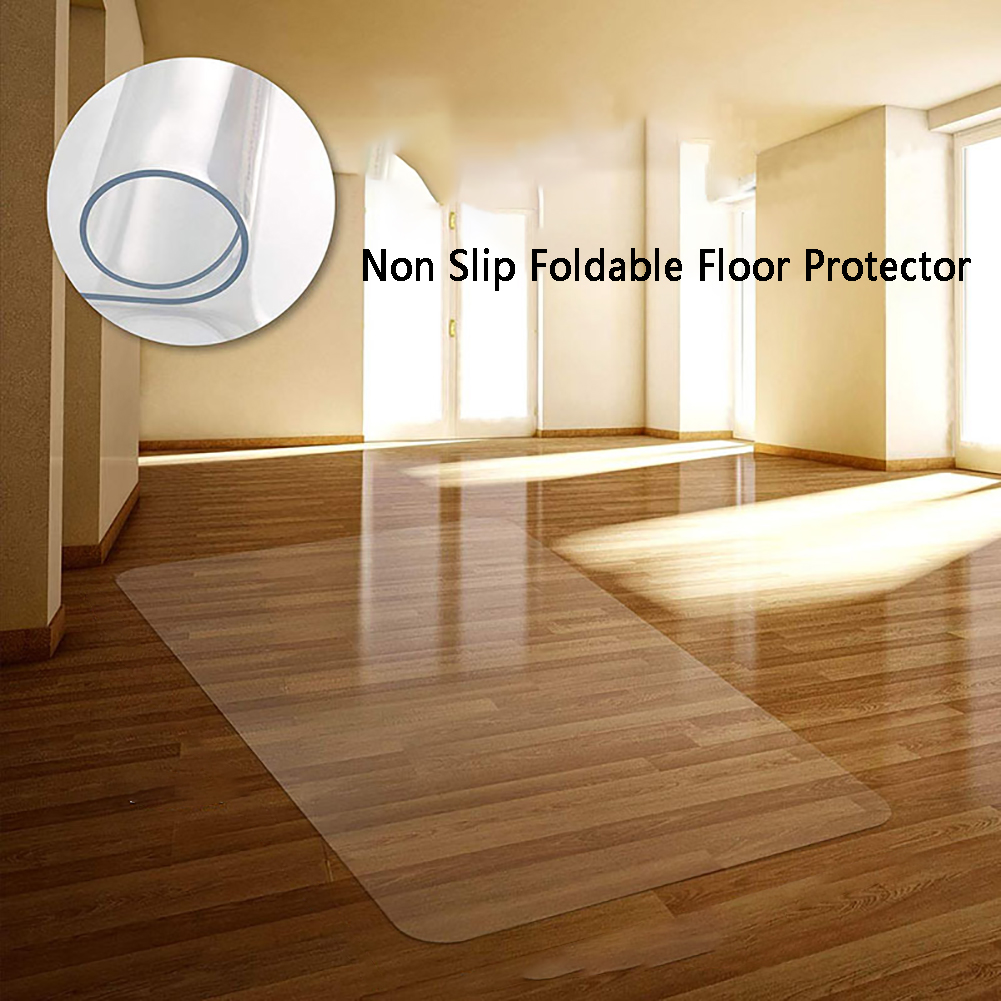 Flexible Wear Resistant Non Slip Scratchproof Home Office Transparent Floor Protector PVC Computer Chair Mat Foldable Carpet