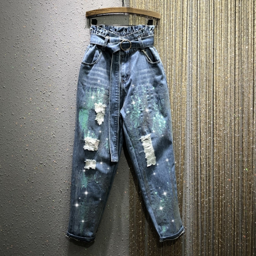 Bud High-Waist Jeans Women's 2020 Spring New Elastic Waist Loose-Fit Straight-Cut Ripped Sequined Harem Pants Denim Jean Jeans