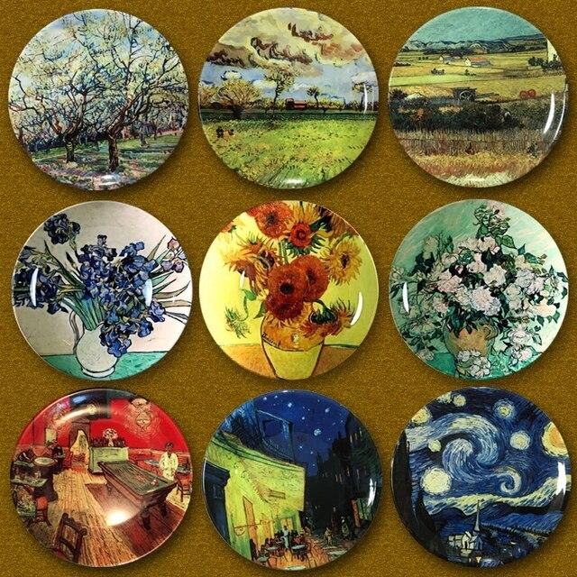 Van Gogh-assiettes décoratives murales   Décorations de maison, plaques en céramique artistique, décorations de maison, Para Colgar avec crochets suspendus