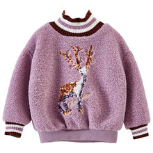 Get more info on the Sweatshirts Deer Baby New Clothes for Girls 4 5 7 9 11 12 Year Korean Style Long Sleeve Wool Blends Outfit Winter Warm Clothes