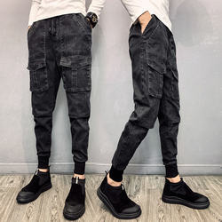 Jeans Men Slim Fashion Solid Color Casual Drawstring Denim Pants Men Streetwear Hip Hop Tooling Jean Trousers Male Clothes
