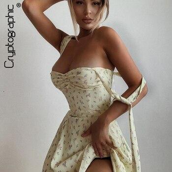 Cryptographic Midi-vestido sin mangas de algodón para mujer, Vestidos sexys con tirantes...