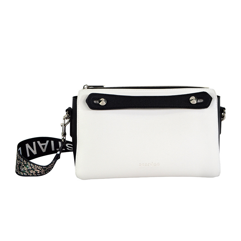 Doubled Pian Bao Manufacturers Customizable Double-Sided Pattern Embroidery Bag Handbag Shiling White With Black Wide Ribbon
