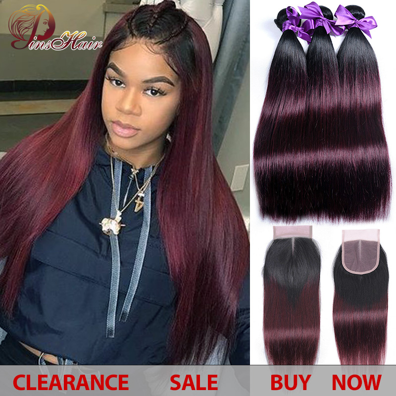 1B Burgundy Ombre Bundles With Closure 99J Thick Bundles Peruvian Straight Human Hair 3 Bundles With Closure Pinshair Non-remy