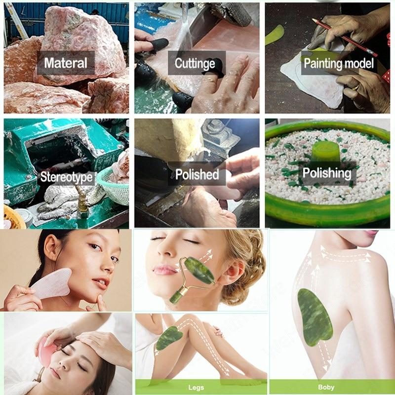 Natural Face Massager Gua Sha Jade Roller Face Massage Tool Set Face For Massager Guasha Facial Neck Skin Beauty Care Set 6