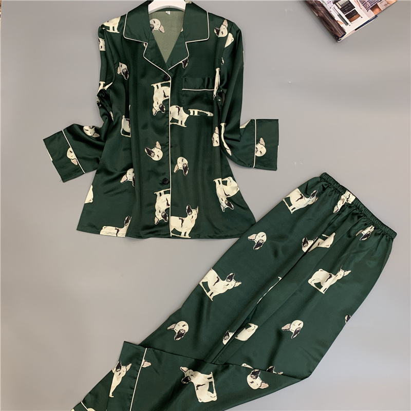 JULY'S SONG Spring And Autumn 2020 New Pajamas Set Women Cute Simulation Silk Homewear Long Sleeve Trousers Two-piece Sleepwear