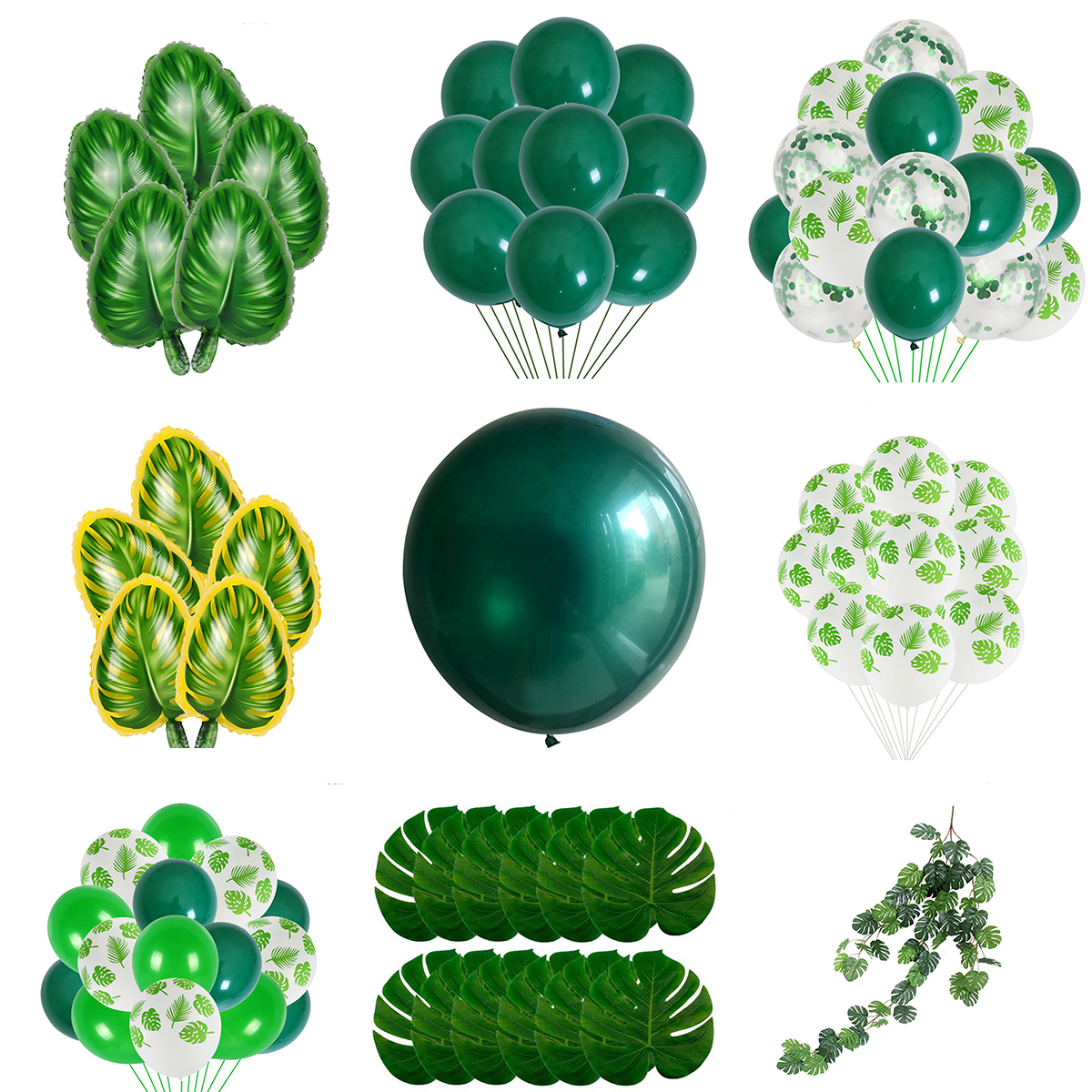 Green Palm Leaf Balloons Safari Jungle Party Child Girl Boy Happy Birthday Party Decor Kids Tropical Dinosaur Party Wild One