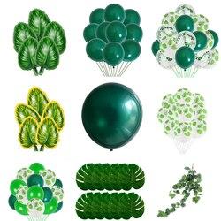 Зеленые воздушные шары с листьями, вечерние шары с листьями сафари в джунглях для детей, девочек и мальчиков с днем рождения, вечерние украш...