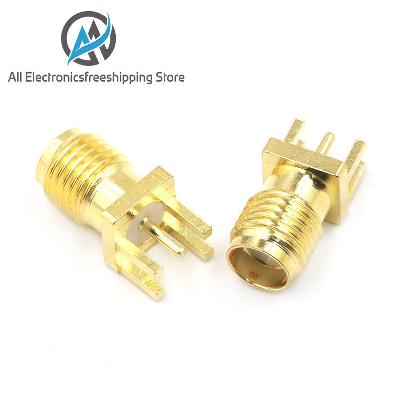 RF Connector Pcb-Clip Jack Receptacle Solder-Nut Straight-Mount Sma Female Gold-Plated