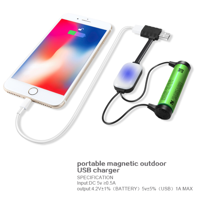 Magnetic 18650 Li-Po Battery Charger Multifunction Li Ion Battery Charging Cable Reverse Charge Power for iPhone Xiaomi Huawei