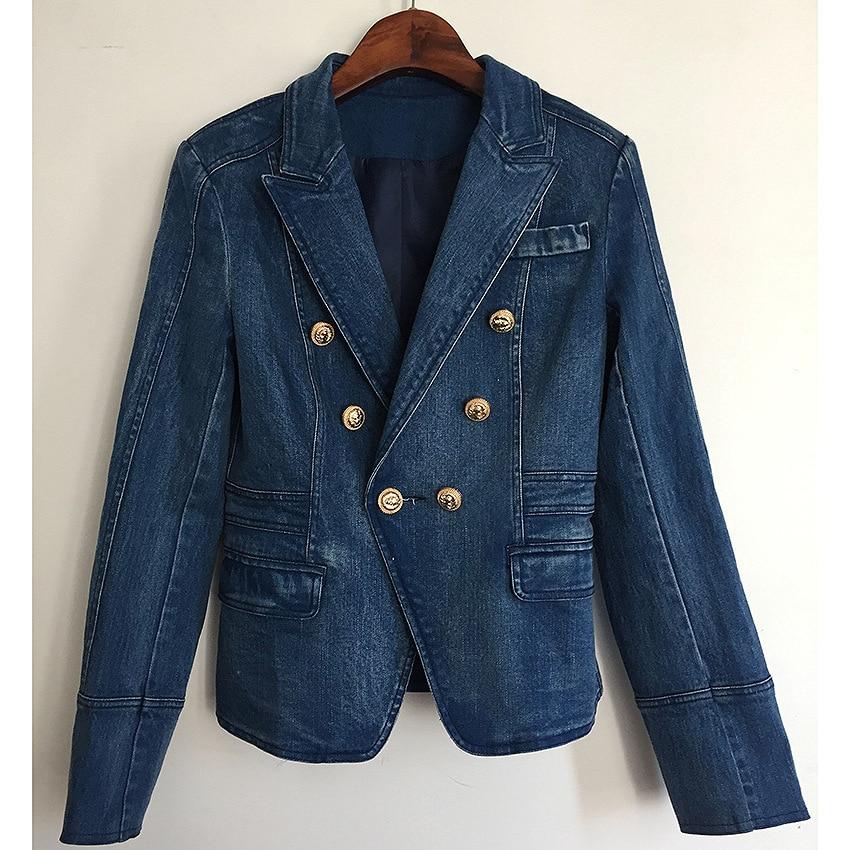 DEAT осенне зимняя двубортная джинсовая синяя куртка с высокой талией, женское короткое пальто, модные металлические пуговицы, WJ02305L - 2