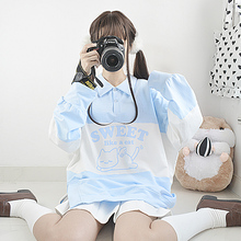 Harajuku носки с принтом «милый котенок» Для женщин с длинным рукавом толстовки японский Молодая девушка, студентка пуловер футболки-поло с воротником, толстовка, топы