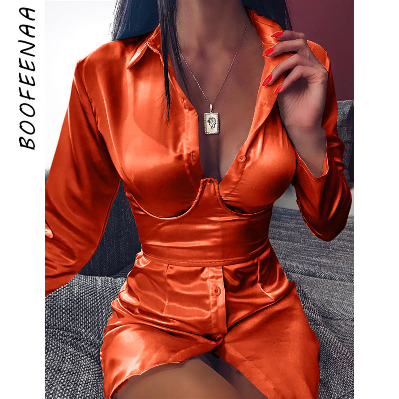 BOOFEENAA Deep V Neck Long Sleeve Shirt Dress Waistband Orange Neon Satin Silk Sexy Night Club Party Dress Fall Clothes C70-AE49
