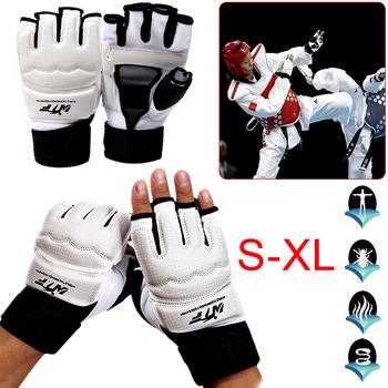 Taekwondo rękawice pół palca rękawice bokserskie wykrawania torba z piaskiem szkolenia rękawice ochronne dla Fitness ręcznie wyposażeniem ochronnym tanie i dobre opinie Dla dziecka CN (pochodzenie) Half Finger Fight Boxing Gloves Other Support S M L XL