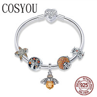 COSYOU 925 Sterling Silver Trendy Insect Bee Pendant Starfish Charm Bracelets Bangles for Women Sterling Silver Jewelry SCB805