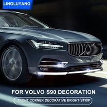 Chrome dekoration für Volvo S90 2016 2017 2018 2019 2020 vorderen ecke helle streifen frontschürze dekoration streifen auto Zubehör
