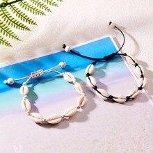 цена на HIYONG Handmade Natural Seashell Bracelet Bohemian Shell Braid Knit Bracelets Women Accessories Beaded Strand Bracelet Jewelry