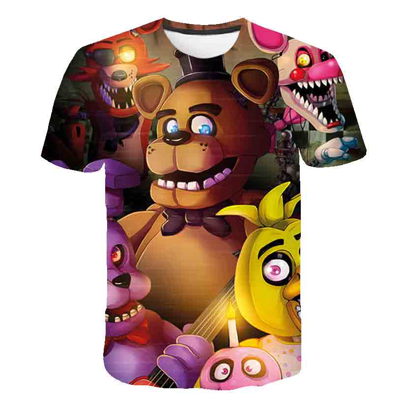 FNAF t Shirts Five Night at Freddy t Shirt Mens Clothing Short Sleeve Summer Clothes Boy Oversized t-Shirt FNAF
