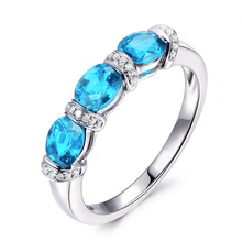 QYI Engagement Ring 1.5 Ct Oval Cut Natural Sky Blue Topaz Luxury 925 Sterling Silver Gemstone Rings For Women Fine Jewelry