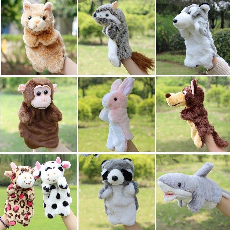 Animal Hand Puppet Marioneta Puppet Dolls Plush Elephant Panda Cat Hand Doll Learning Baby Toys Marionetes Fantoche Puppet Dino