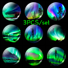 Glowing Northern Lights Fridge Magnet Round Glass Cabochon 3PCS Set Luminous Aurora Diy Refrigerator Magnets Stickers Home Decor