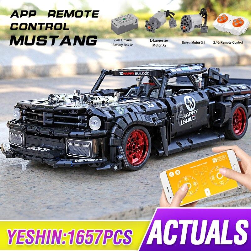 City Mustang Technic RC Ford Hoonicorns MOC-22970 Creator, приложение для дистанционного управления автомобилем, строительные блоки, кирпичи, игрушки «сделай сам», п...