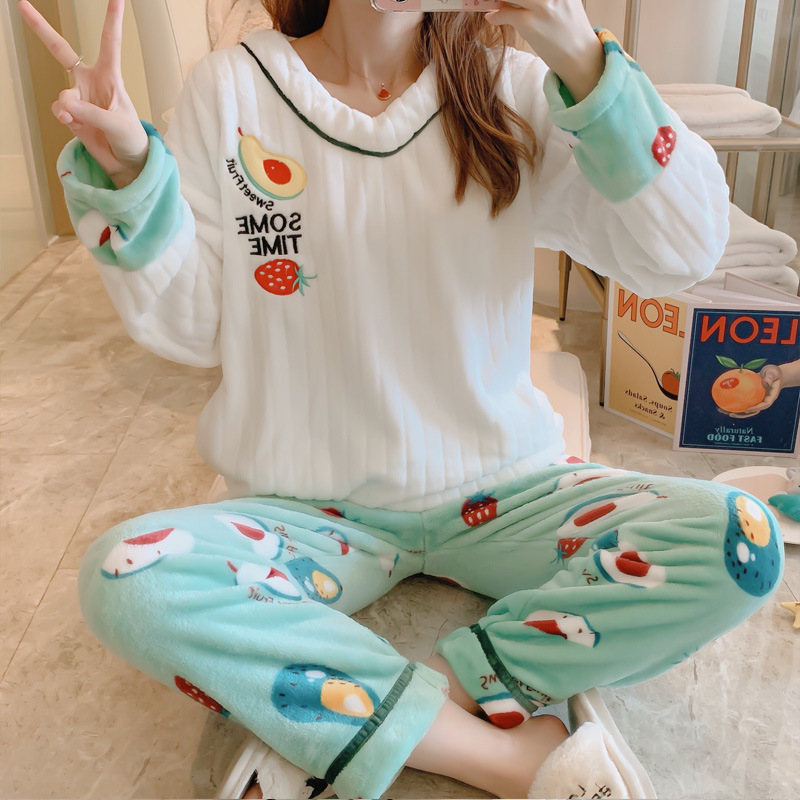 Pajamas Women's Autumn & Winter Thick Flannel Cute Avocado Two-Piece Set Coral Velvet-Outer Wear Spring Home Wear