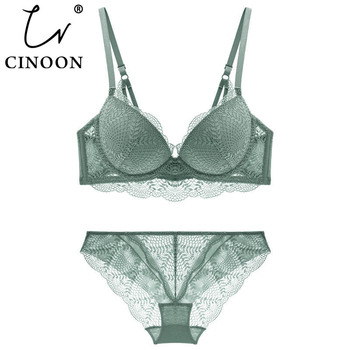 CINOON New Women's underwear Set Lace Sexy Push-up Bra And Panty Sets Comfortable Brassiere Adjustable Gathered Lingerie 1
