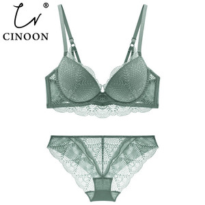 Image 1 - CINOON New Womens underwear Set Lace Sexy Push up Bra And Panty Sets Comfortable Brassiere Adjustable Gathered Lingerie
