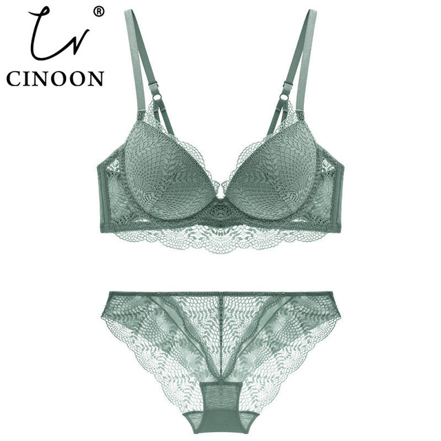 CINOON New Womens underwear Set Lace Sexy Push up Bra And Panty Sets Comfortable Brassiere Adjustable Gathered Lingerie