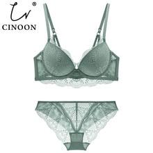 CINOONชุดชั้นในสตรีใหม่ชุดลูกไม้เซ็กซี่Push Up BraและPantyชุดสบายBrassiereปรับรวบรวมชุดชั้นใน