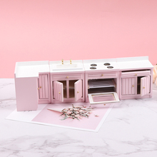 1:12 Dollhouse Miniature Pink Theme Corner Cabinet Wash Basin Cooking Bench Doll House Accessories