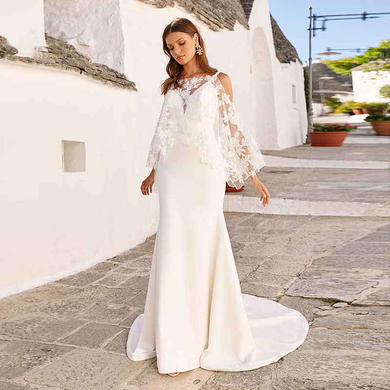 Bohemian Wedding Dresses With Detachable Lace Cape Sexy Mermaid Wedding Gowns 2020 Spaghetti Strap Backless Bride Dresses