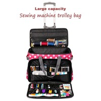 Sewing Machine Bag Trolley Portable Rolling Wide Opening Design Travel Durable Tote Large Capacity Multi functional Storage